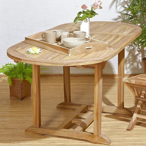 Gartentisch oval, ausziehbar
