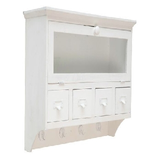 wandregal schrank 4 schubladen glast r 4 haken wei. Black Bedroom Furniture Sets. Home Design Ideas