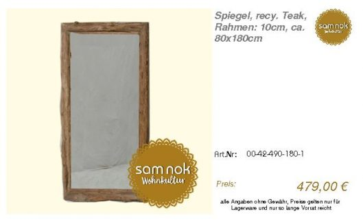 00-42-490-180-1-Spiegel, recy. Teak, Rahmen_sam nok