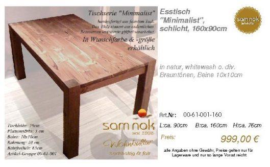 00-61-001-160-Esstisch _Minimalist_, schl_sam nok