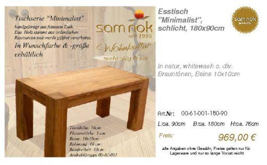 00-61-001-180-90-Esstisch _Minimalist_, schl_sam nok
