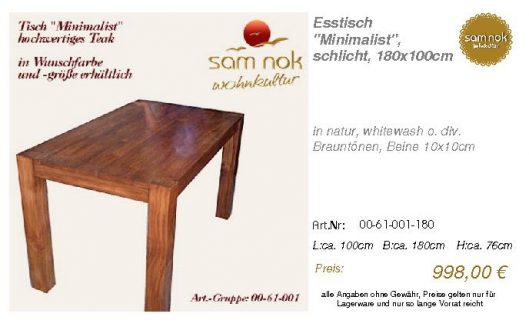 00-61-001-180-Esstisch _Minimalist_, schl_sam nok