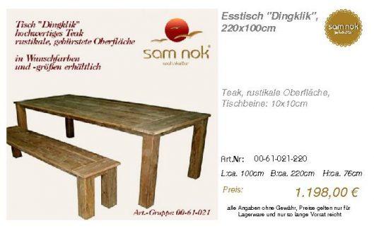 00-61-021-220-Esstisch _Dingklik_, 220x10_sam nok
