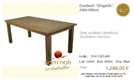 00-61-021-240-Esstisch _Dingklik_, 240x10_sam nok