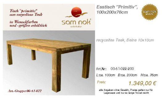 00-61-022-200-Esstisch _Primitiv_, 100x20_sam nok