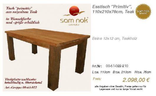 00-61-022-210-Esstisch _Primitiv_, 110x21_sam nok
