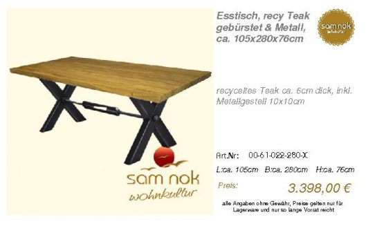 00-61-022-280-X-Esstisch, recy Teak gebürst_sam nok