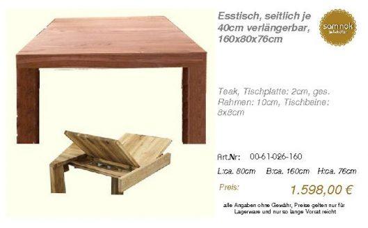 00-61-026-160-Esstisch, seitlich je 40cm_sam nok