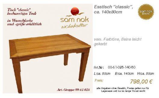 00-61-028-140-80-Esstisch _classic_, ca. 140_sam nok