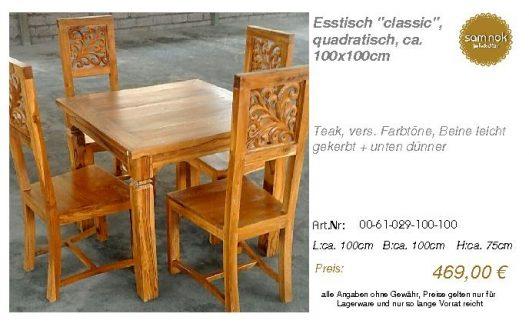 00-61-029-100-100-Esstisch _classic_, quadrat_sam nok