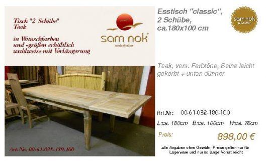 00-61-032-180-100-Esstisch _classic_, 2 Schüb_sam nok