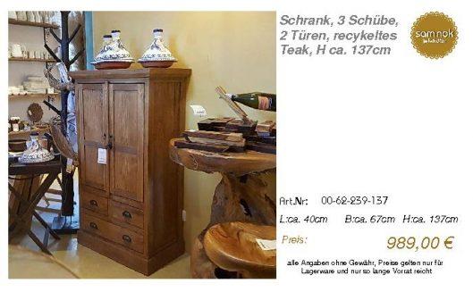 00-62-239-137-Schrank, 3 Schübe, 2 Türen,