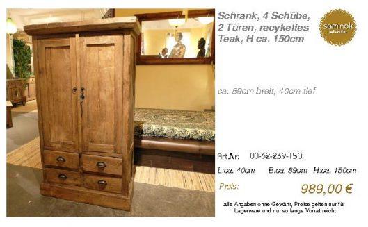 00-62-239-150-Schrank, 4 Schübe, 2 Türen,