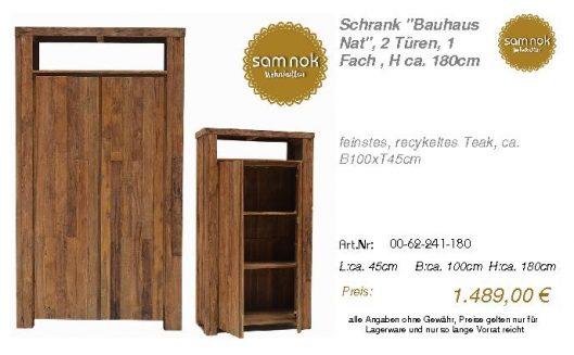 00-62-241-180-Schrank _Bauhaus Nat_, 2 Tü