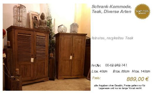 00-62-242-141-Schrank-Kommode, Teak, Dive