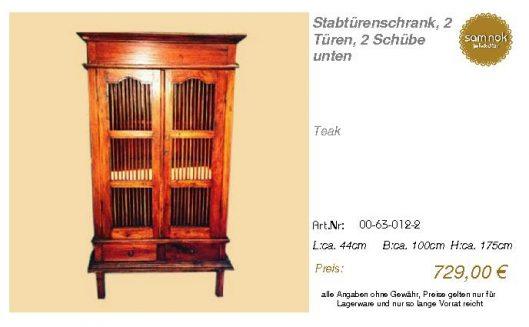 00-63-012-2-Stabtürenschrank, 2 Türen,