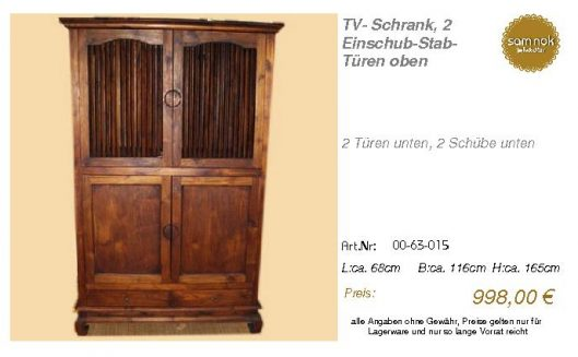 00-63-015-TV- Schrank, 2 Einschub-Sta