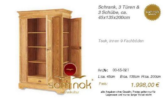 00-63-021-Schrank, 3 Türen & 3 Schübe
