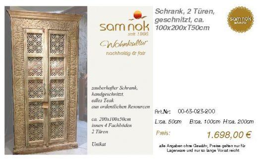 00-63-023-200-Schrank, 2 Türen, geschnitz