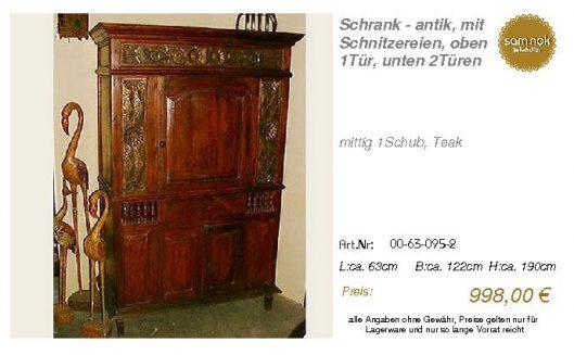 00-63-095-2-Schrank - antik, mit Schnit