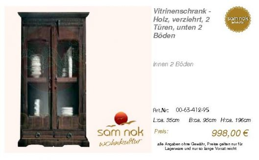 00-63-412-95-Vitrinenschrank - Holz, ver