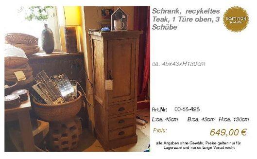 00-63-423-Schrank, recykeltes Teak,