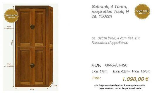 00-63-701-150-Schrank, 4 Türen, recykelte