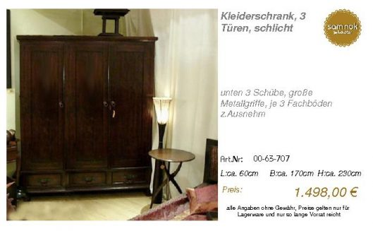 00-63-707-Kleiderschrank, 3 Türen, sc