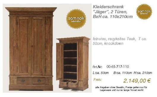 00-63-717-110-Kleiderschrank _Jäger_, 2 T