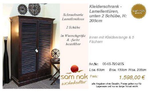 00-63-720-205-Kleiderschrank - Lamellentü