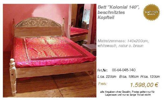 00-64-048-140-Bett _Kolonial 140_, beschn