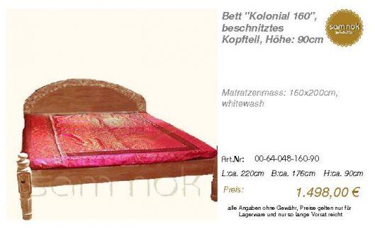 00-64-048-160-90-Bett _Kolonial 160_, beschn