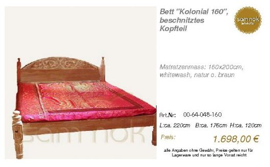 00-64-048-160-Bett _Kolonial 160_, beschn