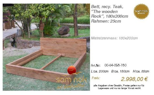 00-64-058-180-Bett, recy. Teak, _The wood
