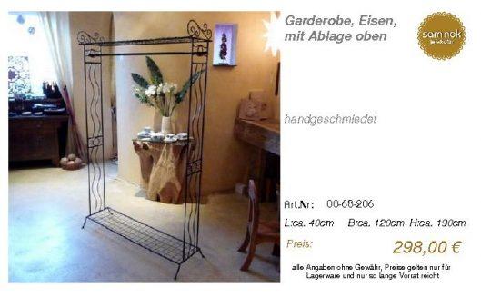 00-68-206-Garderobe, Eisen, mit Ablag _sam nok