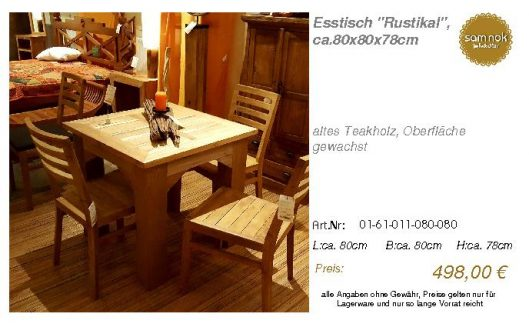 01-61-011-080-080-Esstisch _Rustikal_, ca.80x_sam nok