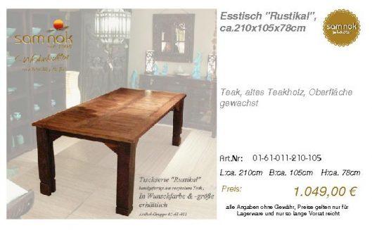 01-61-011-210-105-Esstisch _Rustikal_, ca.210_sam nok
