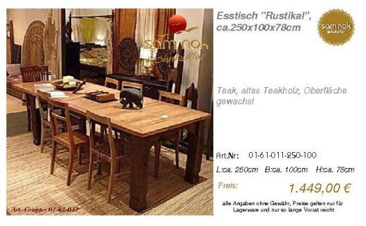 01-61-011-250-100-Esstisch _Rustikal_, ca.250_sam nok