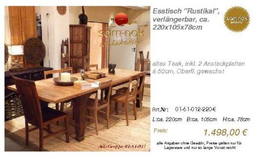 01-61-012-220-E-Esstisch _Rustikal_, verlän_sam nok