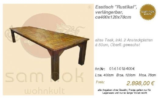 01-61-012-400-E-Esstisch _Rustikal_, verlän_sam nok