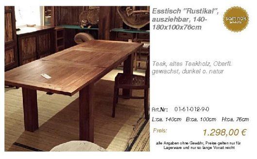 01-61-012-9-0-Esstisch _Rustikal_, auszie_sam nok