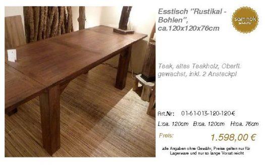 01-61-013-120-120-E-Esstisch _Rustikal - Bohlen_sam nok