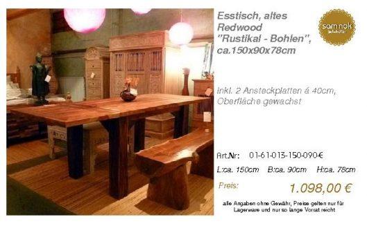 01-61-013-150-090-E-Esstisch, altes Redwood _Ru_sam nok