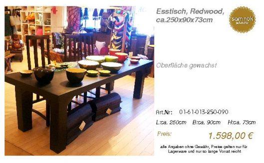 01-61-013-250-090-Esstisch, Redwood, ca.250x9_sam nok