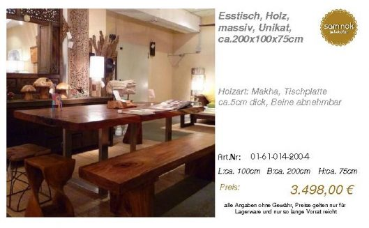 01-61-014-200-4-Esstisch, Holz, massiv, Uni_sam nok