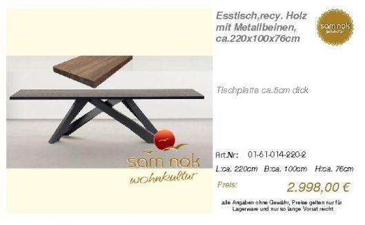 01-61-014-220-2-Esstisch,recy. Holz mit Met_sam nok