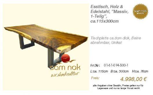 01-61-014-300-1-Esstisch, Holz & Edelstahl,_sam nok