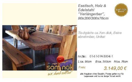 01-61-014-300-E-1-Esstisch, Holz & Edelstahl_sam nok