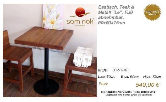 01-61-061-Esstisch, Teak & Metall _Le_sam nok