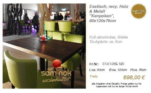 01-61-065-120-Esstisch, recy. Holz & Meta_sam nok